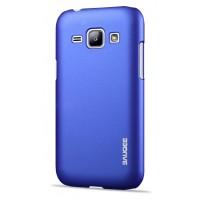Пластиковый матовый металлик чехол для Samsung J1 Синий