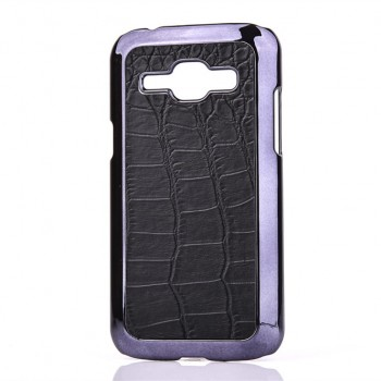 Пластиковый матовый дизайнерский чехол с кожаной поверхностью для Samsung J1