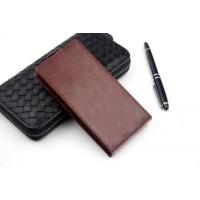 Клеевой чехол вертикальная книжка с магнитной застежкой для Highscreen Boost 2 Коричневый