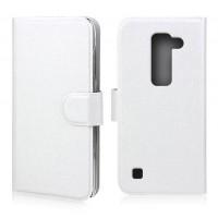 Текустурный чехол флип портмоне с магнитной застежкой для LG Spirit Белый