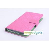 Текстурный чехол флип подставка с защелкой для ZTE Blade S6/S6 Lite Розовый