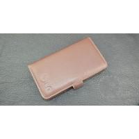 Кожаный чехол портмоне (нат. кожа) с логотипом для LG G4 Коричневый