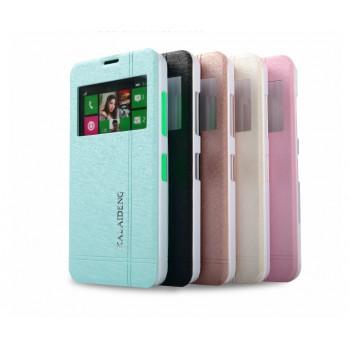 Текстурный чехол флип подставка с окном вызова на пластиковой основе для Nokia Lumia 630/635