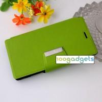 Чехол портмоне подставка на силиконовой основе с дизайнерской защелкой для Sony Xperia M2 dual Зеленый