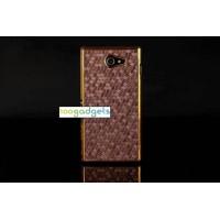 Пластиковый матовый чехол текстура Соты для Sony Xperia M2 dual Коричневый