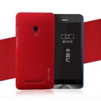 Пластиковый матовый чехол с повышенной шероховатостью для ASUS Zenfone 5 Красный