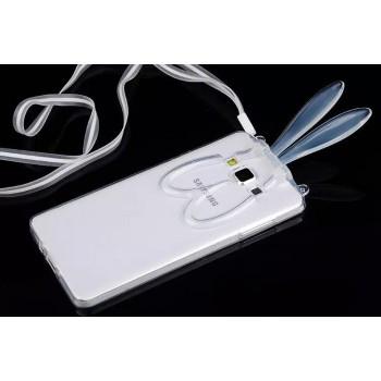 Силиконовый матовый полупрозрачный чехол с ушками и ремешком для Samsung Galaxy A7