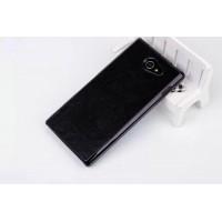 Пластиковый матовый чехол с кожаным покрытием для Sony Xperia M2 dual Черный
