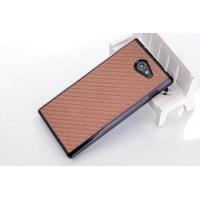 Пластиковый матовый текстурный чехол с карбоновым покрытием для Sony Xperia M2 dual Коричневый