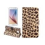 Чехол портмоне подставка с защелкой с полноповерхностным принтом Леопард для Samsung Galaxy S6 Edge