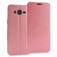Текстурный чехол флип подставка на присоске для Samsung Galaxy Grand Prime Розовый