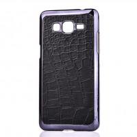 Пластиковый матовый чехол с кожаной поверхностью текстура Крокодил для Samsung Galaxy Grand Prime