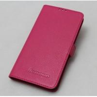 Кожаный чехол горизонтальная книжка (нат. кожа) для Lenovo S850 Пурпурный