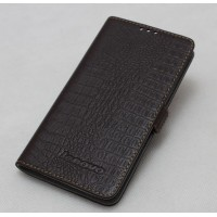 Кожаный чехол портмоне (нат. кожа крокодила) для Lenovo S850 Коричневый