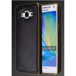 Двухкомпонентный чехол с винтовым двухцветным металлическим бампером и кожаной накладкой для Samsung Galaxy A5