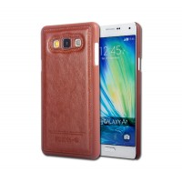 Пластиковый чехол накладка с кожаным покрытием для Samsung Galaxy A5