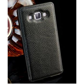 Двухкомпонентный гибридный чехол с металлическим бампером и кожаной крышкой для Samsung Galaxy A7