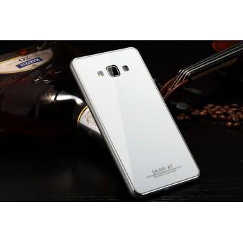 Двухкомпонентный чехол металлический бампер/накладка из закаленного стекла для Samsung Galaxy A7