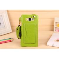 Дизайнерский чехол портмоне подставка с шнурком и отделением для карт для Samsung Galaxy A7 Зеленый