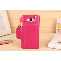 Дизайнерский чехол портмоне подставка с шнурком и отделением для карт для Samsung Galaxy A7 Пурпурный