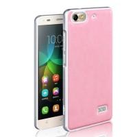 Двухкомпонентный чехол с металлическим бампером и поликарбонатной накладкой текстура Кожа для Huawei Honor 4C Розовый