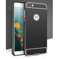 Двухкомпонентный чехол с металлическим бампером и двухцветной поликарбонатной накладкой с отверстием для лого для Huawei P8 Lite Черный