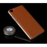 Двухкомпонентный гибридный чехол с металлическим бампером и кожаной накладкой (нат. кожа) для Huawei P8 Lite