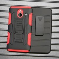 Антиударный силиконовый чехол с поликарбонатной крышкой и ножкой-подставкой для Microsoft Lumia 640 XL Красный