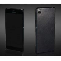 Гибридный силиконовый чехол с кожаным покрытием для Sony Xperia Z3+ Черный