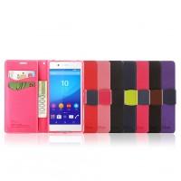 Чехол портмоне подставка на силиконовой основе с дизайнерской защелкой и ремешком для Sony Xperia Z3+