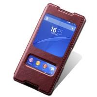 Текстурный чехол флип подставка на пластиковой основе с окном вызова и свайпом для Sony Xperia Z3+ Бордовый