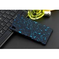 Пластиковый матовый дизайнерский чехол с голографическим принтом Звезды для Sony Xperia Z3+ Голубой