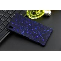 Пластиковый матовый дизайнерский чехол с голографическим принтом Звезды для Sony Xperia Z3+ Синий
