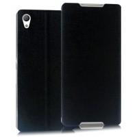 Текстурный чехол флип подставка на присоске для Sony Xperia Z3+ Черный