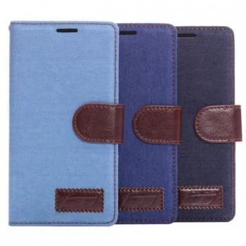 Тканевый чехол портмоне подставка с защелкой для Sony Xperia Z3+