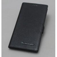 Кожаный чехол горизонтальная книжка (нат. кожа) с магнитной застежкой для Lenovo Vibe Z2 Черный