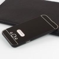 Двухкомпонентный чехол с металлическим бампером и поликарбонатной накладкой для Samsung Galaxy E5 Черный