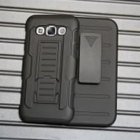Антиударный силиконовый чехол с поликарбонатной крышкой и ножкой-подставкой для Samsung Galaxy E5 Черный