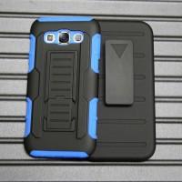 Антиударный силиконовый чехол с поликарбонатной крышкой и ножкой-подставкой для Samsung Galaxy E5 Синий
