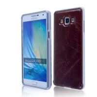 Двухкомпонентный чехол с металлическим бампером и кожаной крышкой для Samsung Galaxy E5