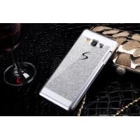 Текстурный пластиковый чехол с напылением страз для Samsung Galaxy E5 Серый