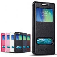 Кожаный чехол флип подставка на пластиковой основе с окном вызова и свайпом для Samsung Galaxy E5