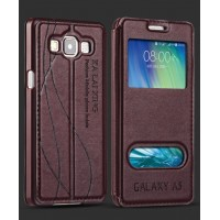 Кожаный чехол флип подставка на пластиковой основе с окном вызова и свайпом для Samsung Galaxy E5 Бордовый