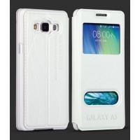 Кожаный чехол флип подставка на пластиковой основе с окном вызова и свайпом для Samsung Galaxy E5 Белый