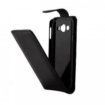 Чехол вертикальная книжка на пластиковой основе с магнитной застежкой для Samsung Galaxy E5