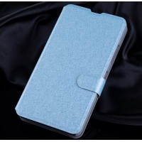 Текстурный чехол портмоне подставка на пластиковой основе с магнитной защелкой для Microsoft Lumia 640 Голубой