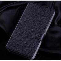 Текстурный чехол портмоне подставка на пластиковой основе с магнитной защелкой для Microsoft Lumia 640 Черный