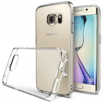 Силиконовый транспарентный премиум чехол максимальной противоударной защиты с клапанами разъемов для Samsung Galaxy S6 Edge