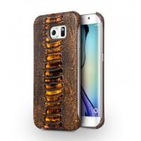 Кожаный чехол накладка (нат. кожа рептилии) для Samsung Galaxy S6 Edge
