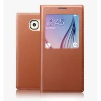 Ультратонкий клеевой кожаный чехол флип (нат. кожа) с окном вызова для Samsung Galaxy S6 Edge